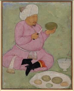Abdullah Khan Uzbek II slicing melons
